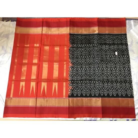 Black And Red Combo Ikkat Design Kanchi Pattu  Saree