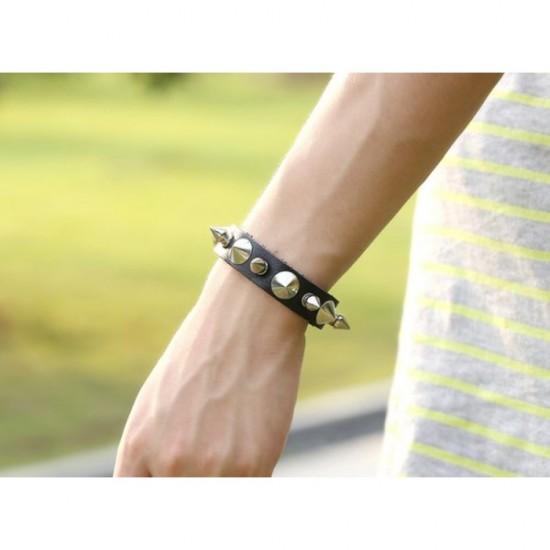 Black Colour with Stylish Metal Leather Bracelet by ZAVIS