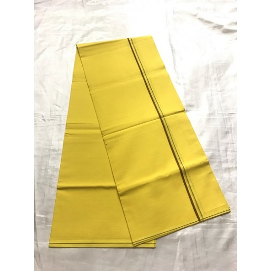 Yellow  Colour Traditional Indian Men's Pure Cotton Dhoti -Indian