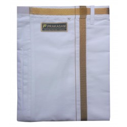 Traditional Indian/Bollywood Men's White Cotton Velcro Dhoti With Pocket