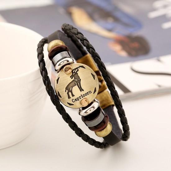 Unisex Leather Bracelet Capricorn -Zodiac Sign