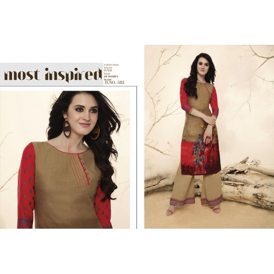 Sandalwood & Red Colour Printed Kurthi With Embroidered Plazzos