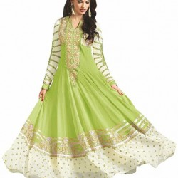 Light Green Colour Pure Georgette Embroidery Ankle Length 3 Piece Anarkali Suit For Weddings And Party Wear
