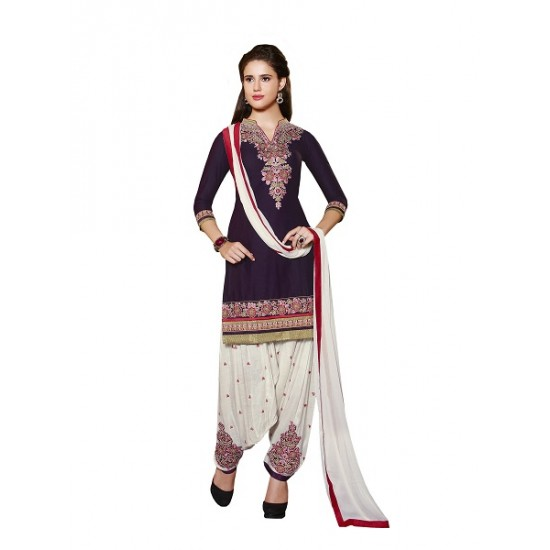 PURPLE  COLOUR  STITCHED READY MADE PATIALA SUIT