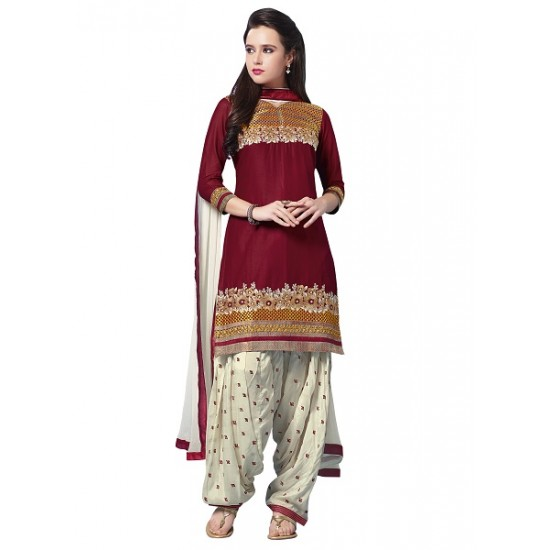 MARRON  COLOUR  STITCHED READY MADE PATIALA SUIT