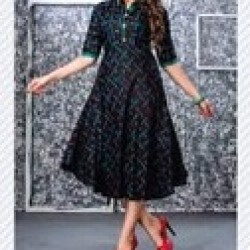 PRINTED PURE RAYON  LONG GOWN STYLE KURTI